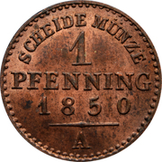 1 pfenning - Friedrich Wilhelm IV – revers