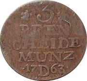 3 pfennig Friedrich II. – revers
