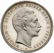 3 mark Wilhelm II (essai) – avers