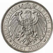 3 mark - Wilhelm II (Mansfeld - essai) – revers