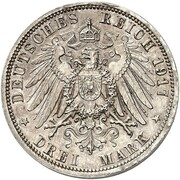 3 Mark - Wilhelm II (Essai) – revers