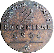 2 pfenninge - Friedrich Wilhelm IV – revers
