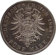 5 Mark - Friedrich III – revers