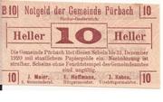 10 Heller (Pürbach) – avers