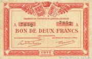 2 francs - Chambres de Commerce de Quimper et de Brest [29] – avers