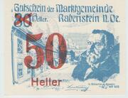 50 Heller Rabenstein(Orange) – avers