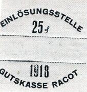 25 Pfennig (Racot; Gutskasse Racot) – revers