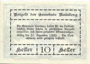 10 Heller (Rainberg) – revers