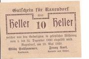 10 Heller (Raxendorf) – avers