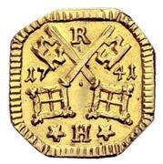 1 Heller (Uniface gold pattern strike) – avers