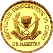 25 Makutas (5 Years of J.D. Mobutu's Presidency; Gold Proof Issue) – avers