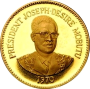 25 Makutas (5 Years of J.D. Mobutu's Presidency; Gold Proof Issue) – revers