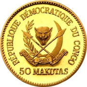 50 Makutas (5 Years of J.D. Mobutu's Presidency; Gold Proof Issue) – avers
