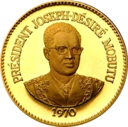 50 Makutas (5 Years of J.D. Mobutu's Presidency; Gold Proof Issue) – revers