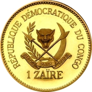 1 Zaïre (5 Years of J.D. Mobutu's Presidency; Gold Proof Issue) – avers