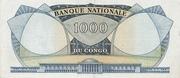 1000 Francs Kasavubu Rép. du Congo Léopoldville – revers