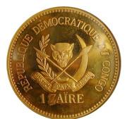 1 Zaïre (5 Years of J.D. Mobutu's Presidency; Brass Gilt Proof Issue) – revers