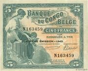 5 Francs Banque du Congo Belge – avers