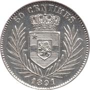50 centimes - Léopold II – revers