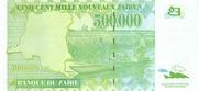 500 000 Nouveaux Zaïres – revers