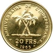 20 francs (5ème anniversaire de l'indépendance) – revers