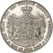 2 Thaler / 3½ Gulden - Heinrich LXXII (Jubilé d'argent) – revers