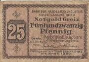 25 Pfennig (Greiz; Bank für Handel und Industrie) – avers