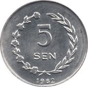 5 Sen (Riau) – revers