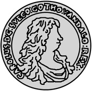 ½ dalderi Charles XI – avers