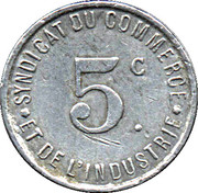 5 Centimes - Syndicat du Commerce & de l'Industrie - Rochefort-sur-Mer (17) – revers