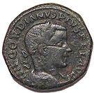 Sesterce Gordien III (P M S COL VIM au taureau et au lion sans étendard, colonie de Viminiacium) – avers