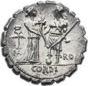 Denier serratus (Fufii: Quintus Fufius Calenus, HO VIRT KALENI / ITAL RO CORDI) -  avers