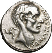Denier (Cornelii: Publius Cornelius Lentulus Marcellinus, MARCELLINVS / MARCELLVS COS•QVINQ) -  avers