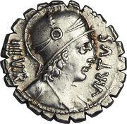 Denier serratus (Aquillii: Manius Aquillius, VIRTVS III•VIR / MN•AQVIL MN•F•MN•N SICIL) -  avers