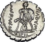 Denier serratus (Aquillii: Manius Aquillius, VIRTVS III•VIR / MN•AQVIL MN•F•MN•N SICIL) -  revers