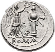 Victoriatus (Anonyme ; ROMA ; lettres au revers) – revers