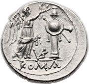 Victoriatus (Anonyme, ROMA, lettres au revers) – revers