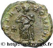 Nummus Théodora (PIETAS ROMANA à la croix et sans globule à l'exergue) – revers