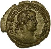 Follis - Constantin II (GLORIA EXERCITVS, deux enseignes avec palme ⸙, Trèves) – avers