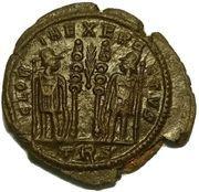 Follis - Constantin II (GLORIA EXERCITVS, deux enseignes avec palme ⸙, Trèves) -  avers