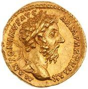 Aureus - Marc Aurèle (TR P XXII IMP V COS III; Victoire) -  avers