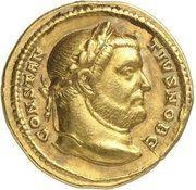 Aureus - Contance Ier (HERCVLI CONSER AVGG ET CAESS NN, frappe comme césar sous Maximien Hercule, Trèves) -  avers