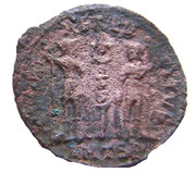 Follis - Delmace (GLORIA EXERCITVS, un seul étendard, Thessalonique) – revers