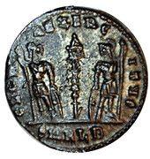 Follis - Constant (GLORIA EXERCITVS, un seul étendard, Alexandrie) – revers