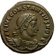 Follis - Constance II (GLORIA EXERCITVS, deux enseignes, Antioche) – avers
