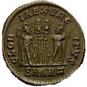 Follis - Constance II (GLORIA EXERCITVS, deux enseignes, Antioche) – revers