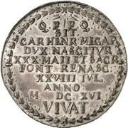 1 thaler (baptème du Prince Carl Heinrich) – revers