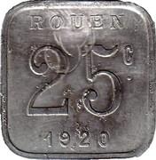 25 centimes - Ligue des Commerçants Rouennais - Rouen [76] – revers