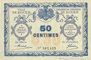 50 centimes - Ville et Chambre de Commerce de Rouen [76] – avers