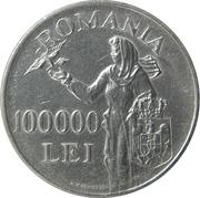 100 000 lei  (Mihai I) – revers
